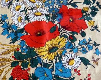 Vintage retro pure linen tea towel