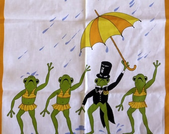 Vintage retro cotton tea towel frogs singing in the rain