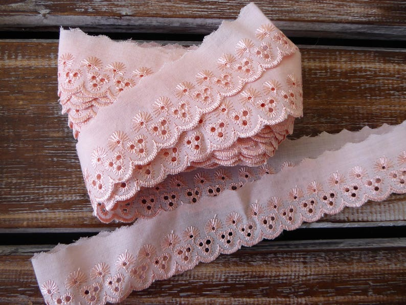 "LACE SEWING TRIM PEACH SCALLOPED RUFFLE SOLD BTY 6 YDS AVAILABLE 1.5/"" WIDE"