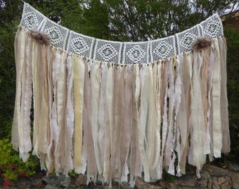 Shabby chic natural fabric garland, fabric banner, tattered photo backdrop, window swag