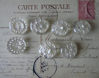 Seven vintage glass shank buttons