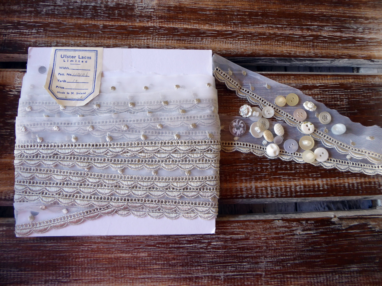 Dentelle grise Vintage fait par Ulster lacets lacets lacets Limited, 10 yards de larges, 1 1/4
