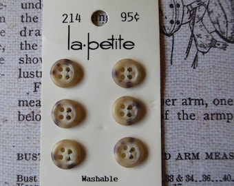 Vintage card of six mottled beige buttons, La Petite brand