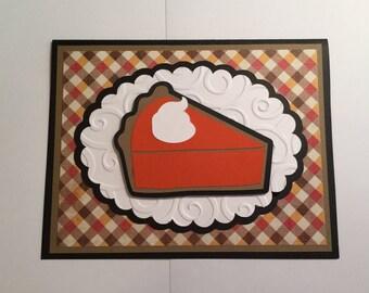 Handmade Thanksgiving Card - Pumpkin Pie