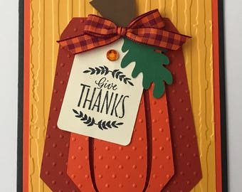 Handmade Thanksgiving Card, A2, Primitive, Give Thanks, Happy Thanksgiving, Pumpkin