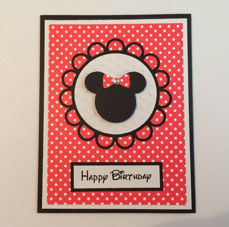 Handmade Minnie Mouse Birthday Card Disney Mickey