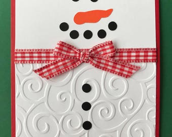 "Handmade ""Snowman"" Card, Merry Christmas, Snow, Handmade Card, A2"