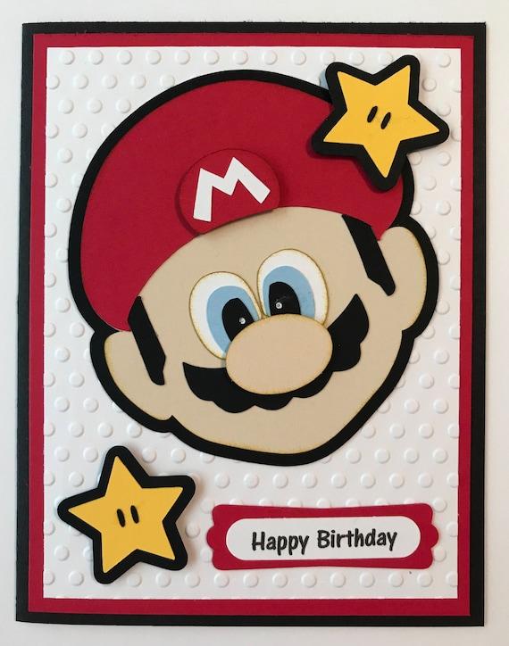 Handmade Mario Inspired Birthday Card Nintendo Mario Etsy