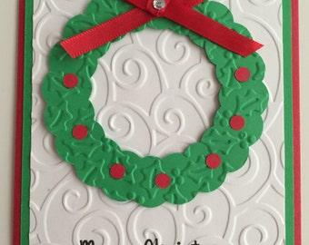 Handmade Merry Christmas Wreath Card, Christmas, Wreath, Merry Christmas