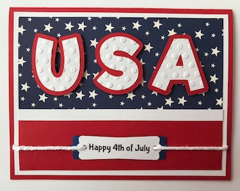 "Handmade ""USA"" Card, A2, Happy Fourth of July, Patriotic, Let Freedom Ring, Red White Blue"