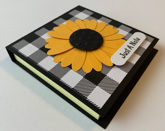 """Handmade """"Sunflower Buffalo Check"""" Post It Note Holder, Notes, Party Favor, Post it"""