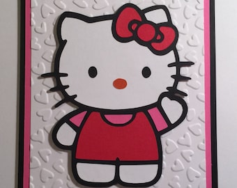 Handmade Hello Kitty Birthday Card, Cat, Kitty, Hello Kitty