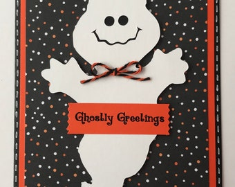 "Handmade Halloween ""Ghost"" A2 Card, Ghostly Greetings, Trick or Treat"