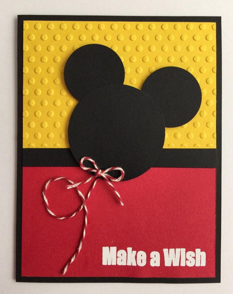 Handmade Embossed Mickey Mouse Birthday Card