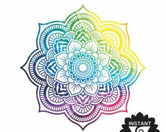 Mandala Rainbow Clipart - Print and Cut File - Sunset Mandala SVG -Mandala SVG - Vinyl Cutting File - High Quality Printable Mandala - Print