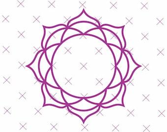 PNG CA0063 24 x Mandala Indian inspired  Spirograph illustrations frame border digital clipart in PNG 300dpi format