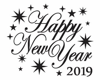 happy new year 2019 design clipart happy new year 2019 svg file happy new year 2019 png file cricut file happy new year 2019 dxf file