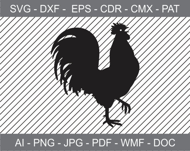 Krähenden Hahn Datei Zum Ausdrucken Clipart Aufbügeln Laserschneiden Und Gravieren Datei Transfer Cricut Datei Cameo Silhouette Svg