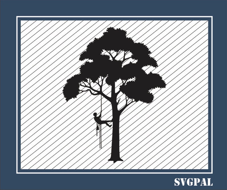 Tree Arborist SVG file for Cricut  Tree dxf Vinyl Cutting file - Tree  Triming png Laser Engraving  Tree Arborist dxf for Laser Cutting