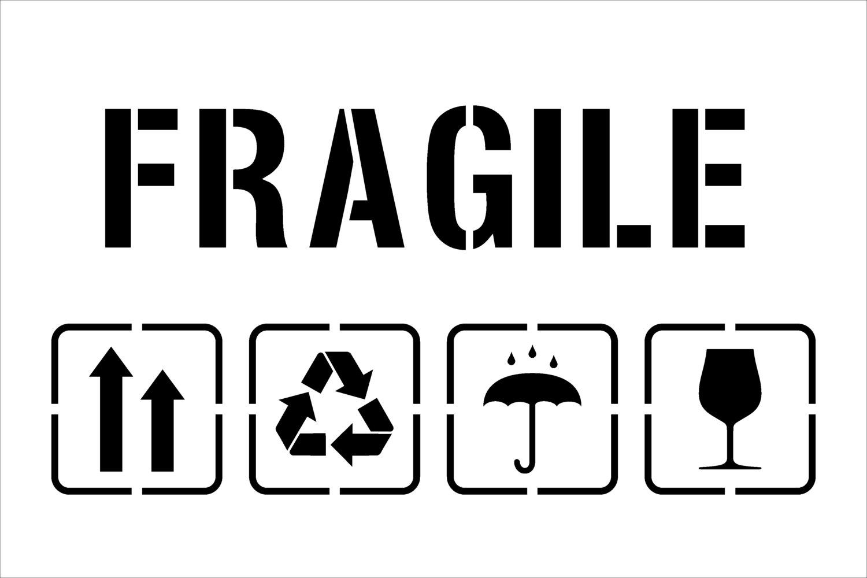 Fragile Symbol Fragiletemplate For Laser Cutting Packagingup Etsy