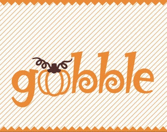 Gobble and Pumpkin for Thanksgiving Clipart - svg - dxf - cdr - png - pdf psd - Iron on Transfer - Cricut - Vinyl Cutting - Laser Engraving