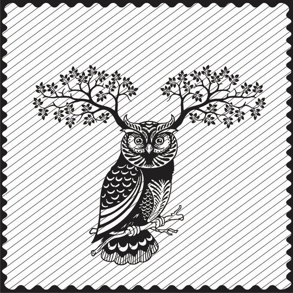 OWL Head SVG Clipart Printable Clipart Laser Engraving file Black and White Owl Head Instant Download