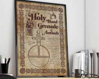 Monty Python Inspired Holy Hand Grenade of Antioch parchment A4 A3 A2 A1 Art Print