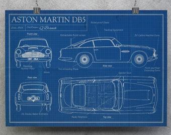 James Bond 007 Inspired - Aston Martin Q Branch DB5 Blueprint A4 A3 A2 A1 Art Print