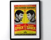 Retro Star Trek Spock vs Spock Mirror Universe fight A4 A3 A2 Poster Print