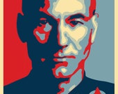 Star Trek Inspired Barack Obama Shepard Fairey style Star Trek Jean Luc Picard Engage A4 A3 A2 A1 Art Print