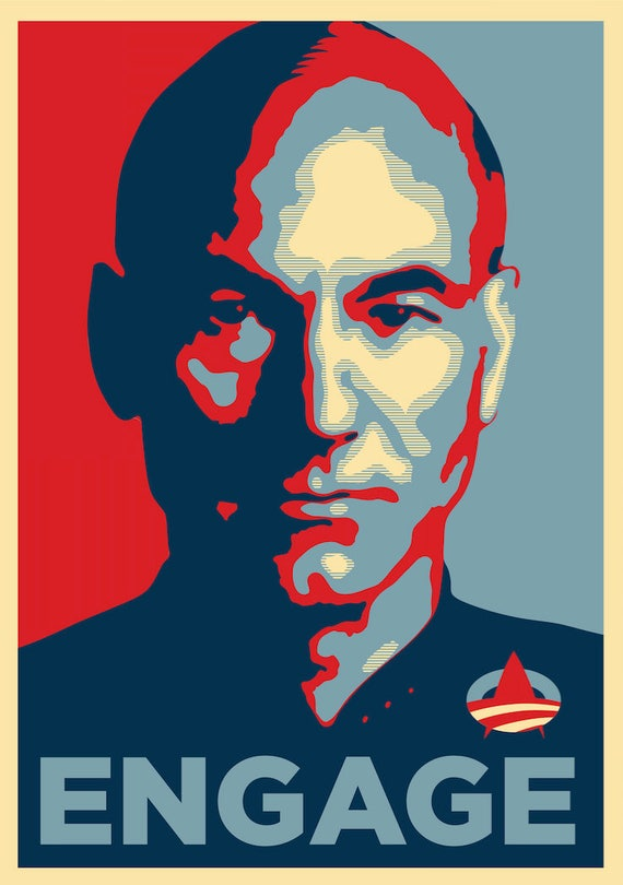 obama style star trek picard engage a4 a3 a2 a1 poster print etsy