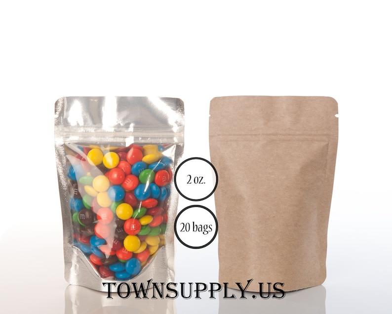 1 OZ 100x Lot Zipper Kraft Window Stand Up Pouch Coffee Packaging Bag Pack
