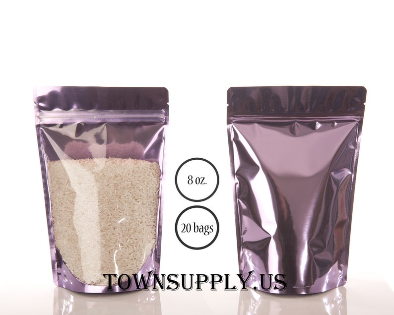 20 - 8 oz lavender stand up pouches with clear front, purple storage bags,  resealable food grade packaging, spring wedding favor, townsupply