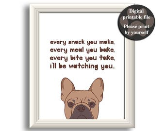 French Bulldog art print Printable dog quote Gift for dog | Etsy
