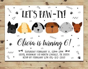 Dog cat party invite Etsy