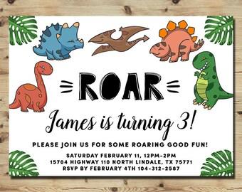 Dinosaur Invitation, Dinosaur Birthday Invitation Party, Roar Look, Jurrasic Invitation, Dino Birthday Party, Printable Digital File