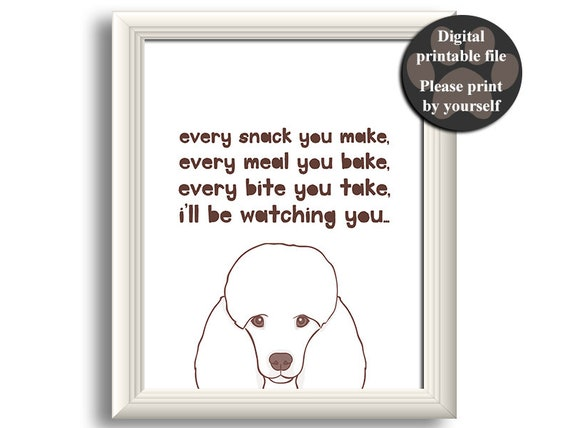 Poodle Art Print Poodle wall art Printable dog quote Gift   Etsy
