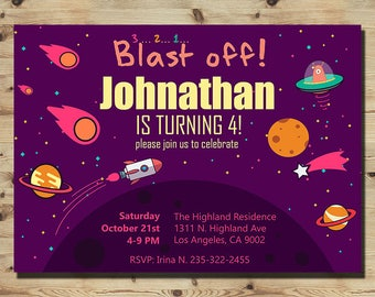 Outer Space Birthday , Space Invitation, Astronaut Party, Boy and Girl, Rocket Ship, Space Birthday, Printable Digital File