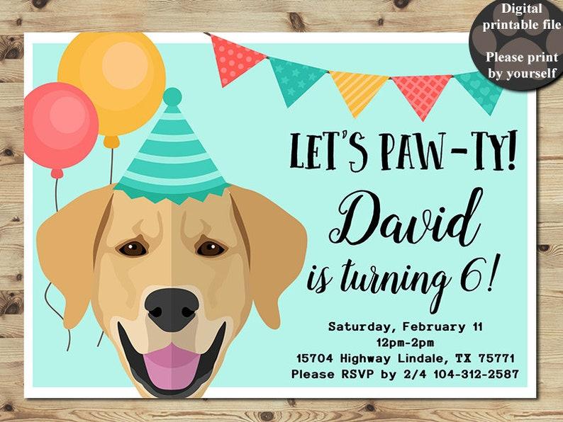 Labrador Birthday Invitation Labrador Party Invitation Dog Etsy