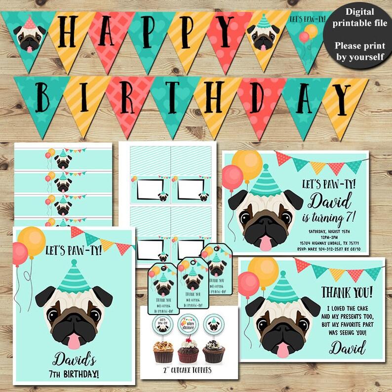 bfe764e62e Pug Party Puppy Party Puppy Birthday Party Dog Birthday | Etsy