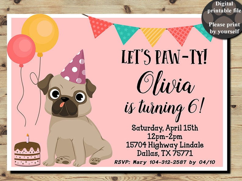 Pug Birthday Invitation Pug Party Pug Invitation Girls Etsy