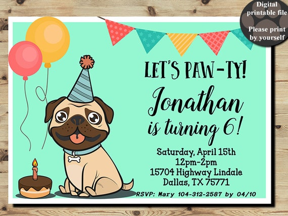 Pug Birthday Invitation Pug Party Pug Invitation Boys Party Etsy