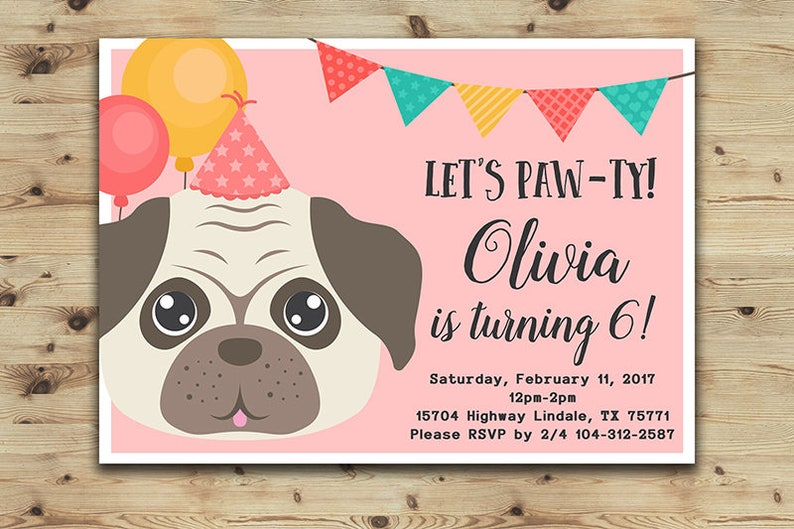 Pug Birthday Invitation Girls And Boys Party Pug Invitation Etsy