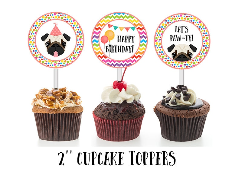 Pug Cupcake Toppers Puppy Cake Decorations Cupcake Toppers ...