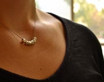 Silver Geometric Simple Silk Bead Necklace