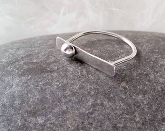 sterling silver ring, stackable ring, bar ring, arc, 925, bold statement, dainty jewelry, geometric, art, silver ball, architecture,