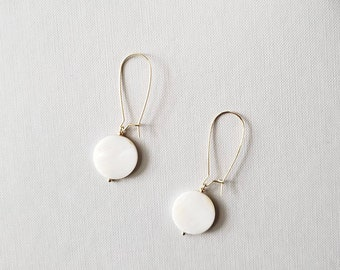 drop earring, shell, mother of pearl, pearl earring, geometric, wedding, bridesmaids, gold jewelry, gift, holiday, cirle, nautical