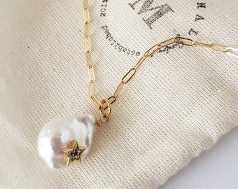 charm necklace, baroque pearl, pearl necklace, gold chain, gift, bridesmaid, pave, nautical, dainty jewelry, delicate, mahrimahal, pendant