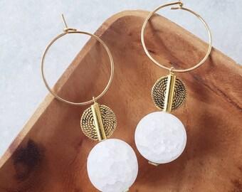 Hoops, gold hoops, quartz, charms, earrings, modern, geometric, dangle earrings, luxury, 14k gold filled, gifts, stone hoops, modern hoops