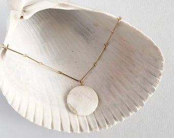 shell necklace, pendant necklace, charm,, coastal, nautical, mother of pearl, gift, bridesmaids, summer, gold bar, Coin Necklace, Medallion